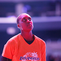 24 July 2014:  Los Angeles Sparks forward/center Sandrine Gruda (7) stands during the national anthem prior to the Phoenix Mercury 93-73 victory over the Los Angeles Sparks, at the Staples Center, Los Angeles, California, USA.