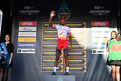 March 15, 2019 - Foligno, Perugia, Italia - Foto Gian Mattia D'Alberto / LaPresse.15/03/2019 Foligno (Italia) .Sport Ciclismo.Tirreno-Adriatico 2019 - edizione 54 - da Pomarance a Foligno  (226 km) .Nella foto:  Natnael Berhane ERI, maglia verde..Photo Gian Mattia D'Alberto / LaPresse .March 15, 2018 Foligno (Italy).Sport Cycling.Tirreno-Adriatico 2019 - edition 54 - Pomarance to Foligno (140 miglia) .In the pic:  Natnael Berhane ERI, green jersey (Credit Image: © Gian Mattia D'Alberto/Lapresse via ZUMA Press)