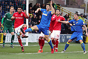 AFC Wimbledon defender Jon Meades (3) battles for possession in the box during the The FA Cup match between AFC Wimbledon and Charlton Athletic at the Cherry Red Records Stadium, Kingston, England on 3 December 2017. Photo by Matthew Redman.