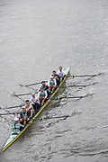 Putney, London, Varsity,   3rd April 2019, CUBC pass under Hammersmith Bridge using a bow side Tandem rig,  between 6-7, Oxford/Cambridge Media week, Championship Course,<br />