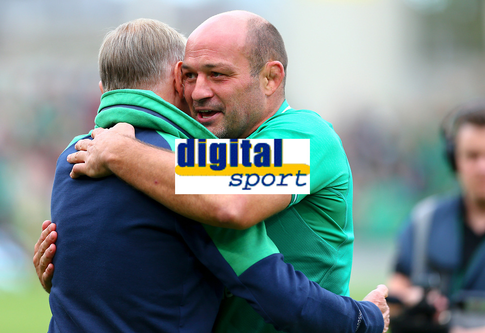 Rugby Union - 2019 pre-Rugby World Cup warm-up (Guinness Summer Series) - Ireland vs. Wales<br /> <br /> Rory Best (c) (Ireland) and Joe Schmidt at the end of the game embrace at The Aviva Stadium.<br /> <br /> COLORSPORT/KEN SUTTON