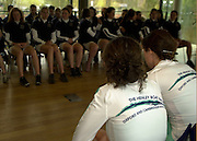 18/03/2004 Henley Races - Women's Boat Race.Challenge and weigh-in.Cambridge athletes [white shirts] line up and face Oxford for the weigh-in.[Mandatory Credit: Peter Spurrier: Intersport Images].
