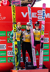 24.03.2019, Planica, Ratece, SLO, FIS Weltcup Ski Sprung, Skiflug, Finale, Siegerehrung, Gesamtweltcupwertung, im Bild Podium Skiflug Gesamtwertung 2. Platz Markus Eisenbichler (GER), Sieger Ryoyu Kobayashi (JPN, 3. Platz Piotr Zyla (POL) // 2nd place Markus Eisenbichler (GER) Winner Ryoyu Kobayashi of Japan 3rd place Piotr Zyla of Poland during the allover winner Ceremony for the Ski Flying World Cup Final 2019. Planica in Ratece, Slovenia on 2019/03/24. EXPA Pictures © 2019, PhotoCredit: EXPA/ JFK