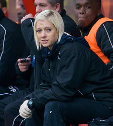 WREXHAM, WALES - Saturday, February 14, 2009: Grays Athletic's blonde physio Becky Nutt during the Blue Square Premier League match against Wrexham at the Racecourse Ground. (Mandatory credit: David Rawcliffe/Propaganda)