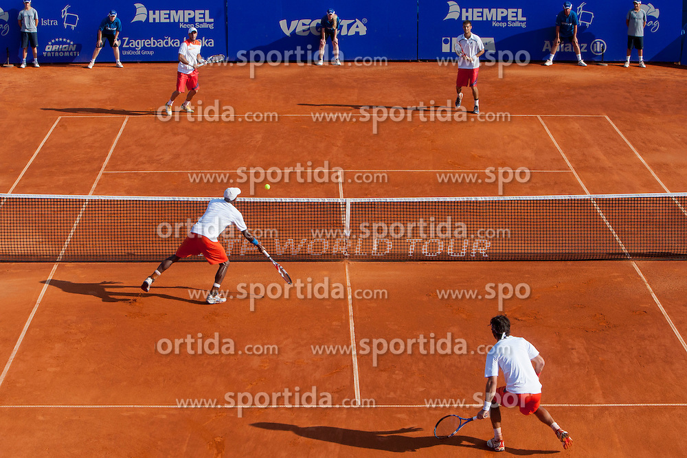 Martin Klizan (SVK) and David Marrero (ESP) during a tennis match against the Nicholas Monroe (USA) and Simon Stadler (GER) in final of doubles at 24. ATP Vegeta Croatia Open 2013, on July 27, 2013, in Umag, Croatia. (Photo by Urban Urbanc / Sportida.com)