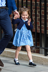 The Duke of Cambridge and Princess Charlotte arriving at the Lindo Wing at St Mary's Hospital in Paddington, London. Photo credit should read: Matt Crossick/EMPICS Entertainment