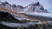Stokksnes nature area whit Vestra-Horn unstratified mountain background, Hofn, Iceland