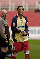 Photo: Leigh Quinnell.<br /> Swindon Town v Grimsby Town. Coca Cola League 2. 14/10/2006. Swindon captain Ady Williams gets ready to go in goal after a bad injury to goalkeeper Peter Brezovan.
