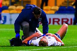 Adam Thompson of Bury receives medical treatment  - Mandatory by-line: Ryan Crockett/JMP - 04/12/2018 - FOOTBALL - One Call Stadium - Mansfield, England - Mansfield Town v Bury - Checkatrade Trophy
