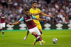 Matic Crnic of NK Domzale and Winston Reid of West Ham during 2nd Leg football match between West Ham United FC and NK Domzale in 3rd Qualifying Round of UEFA Europa league 2016/17 Qualifications, on August 4, 2016 in London, England.  Photo by Ziga Zupan / Sportida