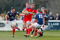Bristol Rugby Number 8 Rayn Smid is tackled by London Scottish Full Back Lee Millar and Lock Josh Thomas Brown - Mandatory byline: Rogan Thomson/JMP - 02/04/2016 - RUGBY UNION - Richmond Athletic Ground - London, England - London Scottish v Bristol Rugby - Greene King IPA Championship.