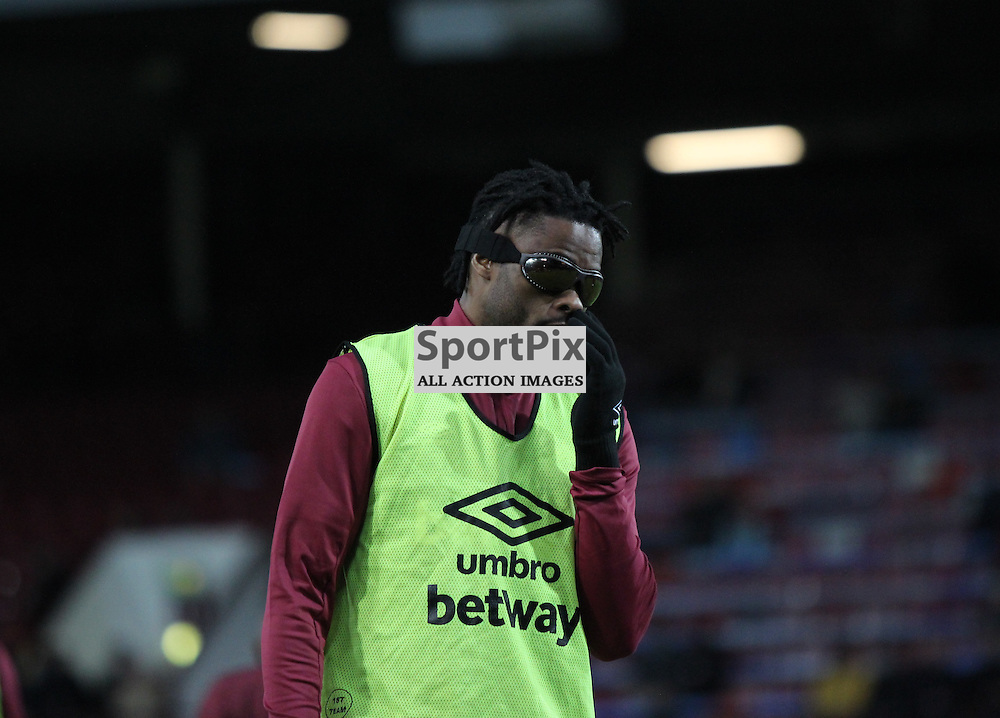 Alex Song of West Ham United during the warm up before the Barclays Premier League game against Manchester City. (c) Joshua Smith | SportPix.org.uk
