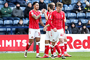 Charlton Athletic midfielder André Green (18) celebrate his goal with team-mates during the EFL Sky Bet Championship match between Preston North End and Charlton Athletic at Deepdale, Preston, England on 18 January 2020.