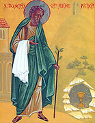Icon of St. Joseph of Arimathea at Glastonbury, with the Holy Grail and the staff that flowered, by the hand of a Monk of the Brotherhood of St. Seraphim of Sarov.