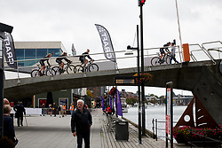 Wiggle High5 cross the bridge on the way back from sign on at Ladies Tour of Norway 2018 Stage 2, a 127.7 km road race from Fredrikstad to Sarpsborg, Norway on August 18, 2018. Photo by Sean Robinson/velofocus.com
