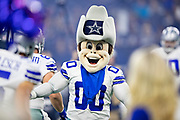ARLINGTON, TX - OCTOBER 14:  Dallas Cowboy Mascot Rowdy performs before a game against the Jacksonville Jaguars at AT&T Stadium on October 14, 2018 in Arlington, Texas.  The Cowboys defeated the Jaguars 40-7.  (Photo by Wesley Hitt/Getty Images) *** Local Caption ***
