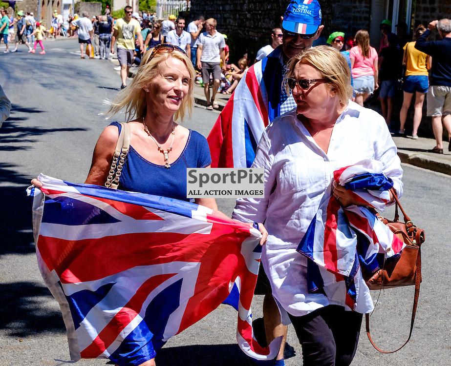 The Tour de France - Stage 7 - Livarot (Normandy) to Fougères (Brittany)    British support in Lassay-les-Chateaux, Pays de la Loire  (c) Andrew Wilson | SportPix.org.uk