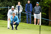 Ex footballer Tim Sherwood lines a putt up during the BMW PGA Championship Celebrity Pro-Am Day at the Wentworth Club, Virginia Water, United Kingdom on 25 May 2016. Photo by Simon Davies.