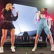 WASHINGTON, DC - October 18th, 2019 - Slayyyter (left) joins Charli XCX (right) onstage by  at the 9:30 Club in Washington, D.C. (Photo by Kyle Gustafson / For The Washington Post)