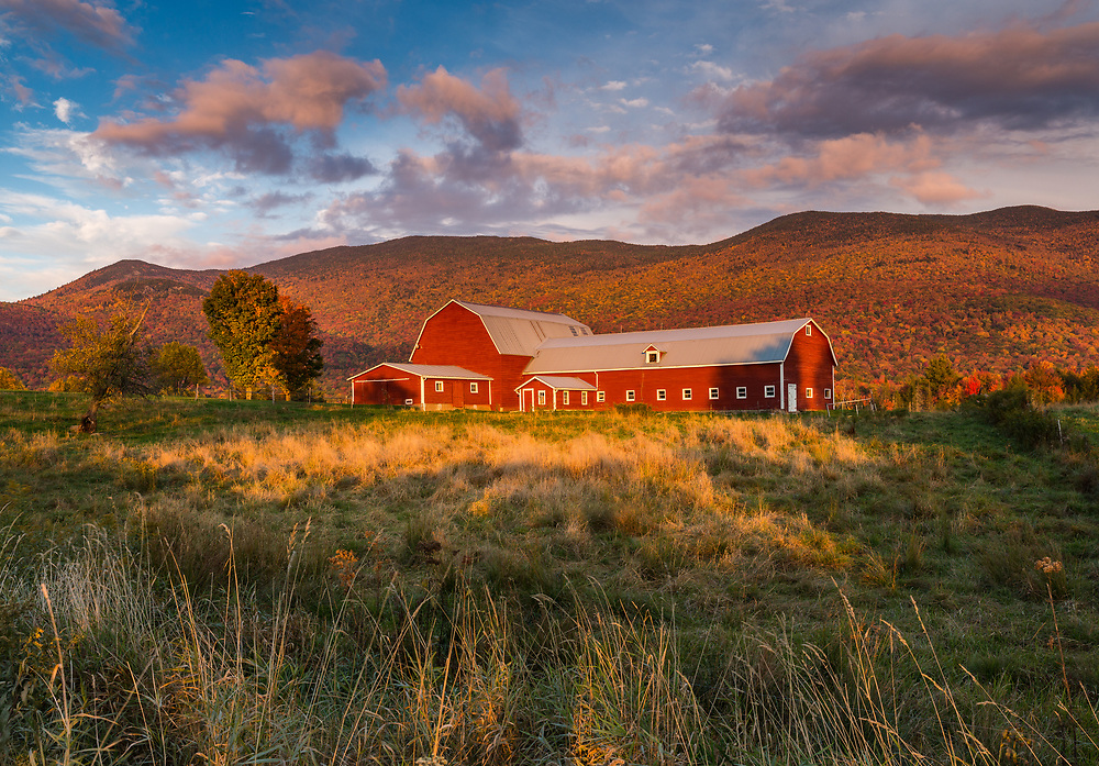 Red barn and autumn sunset, Waterbury, VT