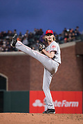 Cincinnati Reds starting pitcher Bronson Arroyo (61) pitches to the San Francisco Giants at AT&T Park in San Francisco, California, on May 11, 2017. (Stan Olszewski/Special to S.F. Examiner)