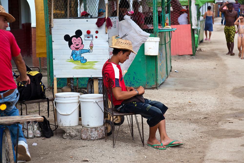 Food kiosks in Playa Blanca, Holguin, Cuba.