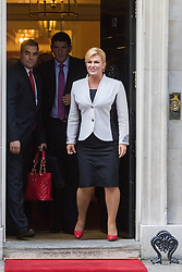 Downing Street, London, October 11th 2016. Croatian President Kolinda Grabar-Kitarović leaves 10 Downing Street following a meeting British Prime Minister Theresa May at her official residence.