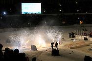 """5.2.2011, Olympiastadion, Helsinki..J??kiekon SM-liiga 2010-11. """"Talviklassikko"""" Jokerit - HIFK..Jokerit tulee kaukaloon..©Juha Tamminen."""