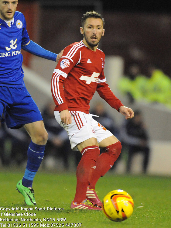 Simon Cox Nottingham Forest, Nottingham Forest v Leicester City, City Ground Nottingham,  Sky Bet Championship, 19th Febuary 2014