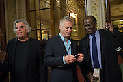 PAUL GREENGRASS; STEPHEN DALDRY; BAZ BAMBIGBOYE, The Audience Press night, Gielgud Theatre and after-party at the Horseguard Hotel. London. 5 March 2013