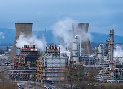 View of INEOS Grangemouth petrochemical plant and refinery in Scotland, UK