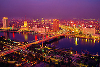 Twilight view across the Nile River and the 6 October Bridge
