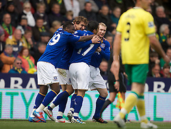 NORWICH, ENGLAND - Saturday, April 7, 2012: Everton's Nikica Jelavic  shows his disappontment as his brace was not enough to give Everton all the three points  in  the Premiership match at Carrow Road. (Pic by Marcello Pozzetti/Propaganda)NORWICH, ENGLAND - Saturday, April 7, 2012: Everton's Nikica Jelavic  celebrates his first goal in  the Premiership match at Carrow Road. (Pic by Marcello Pozzetti/Propaganda)