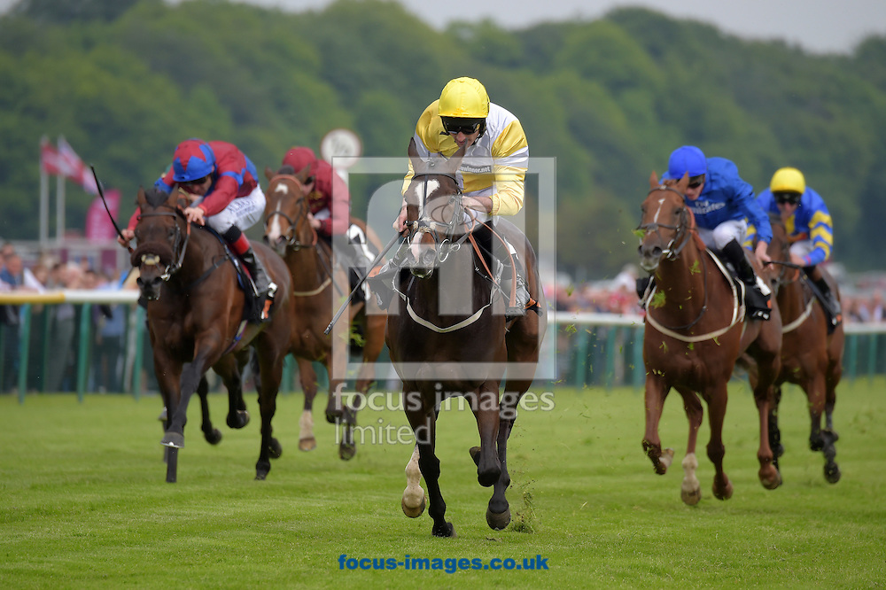 Quiet Reflection ridden by Dougie Costello (yellow and white quarters and yellow cap) wins 188Bet Sandy lane stakes during the Timeform Jury  and Sandy Lane Stakes meeting at Haydock Park, Merseyside.<br /> Picture by Martin Lynch/Focus Images Ltd 07501333150<br /> 28/05/2016