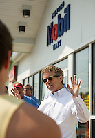 Republican Senator (Kentucky) Rand Paul speaks to supporters outside the Gilford Mobil Mart on Wednesday afternoon.  (Karen Bobotas/for the Laconia Daily Sun)