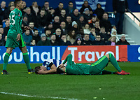 Football - 2018 / 2019 Emirates FA Cup - Fifth Round: Queens Park Rangers vs. Watford<br /> <br /> The aftermath of the head clash between Matt Smith (Queens Park Rangers) and Miguel Britos (Watford FC) at Loftus Road<br /> <br /> COLORSPORT/DANIEL BEARHAM