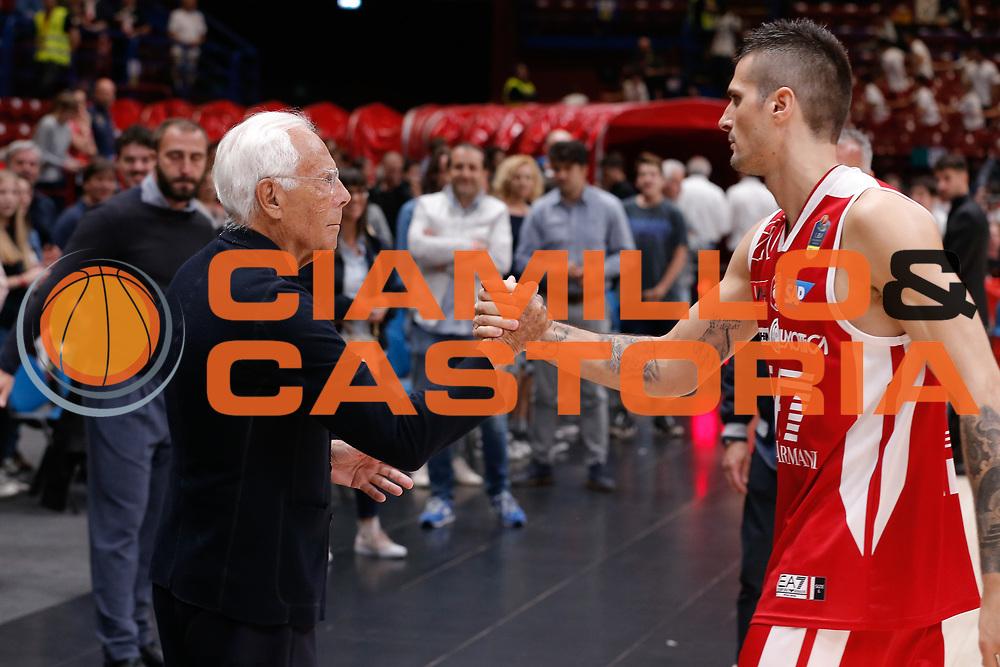 Cinciarini Andrea, Giorgio Armani<br /> EA7 Olimpia Milano - The Flexx Pistoia<br /> Legabasket Serie A 2017/18<br /> Milano, 06/05/2018<br /> Foto MarcoBrondi / Ciamillo-Castoria