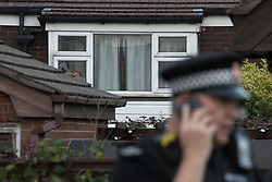 © Licensed to London News Pictures . 25/07/2017 . Oldham , UK . An upstairs window is smashed and a duvet inserted through . Scene where an armed siege that began at 3.15am on Tuesday 25th July in a house on Pemberton Way in Shaw , is ongoing . A man named locally as Marc Schofield is reported to be holding a woman hostage after earlier releasing two children . The gas supply in the area has been cut off and several neighbouring properties have been evacuated . Photo credit : Joel Goodman/LNP