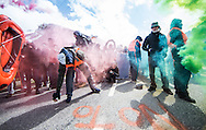 Protestors spray the words 'No to Borders' on the street at a demonstration against cross assurance measures at the border from Italy to Austria in Gries am Brenner, Austria.<br /> Picture by EXPA Pictures/Focus Images Ltd 07814482222<br /> 24/04/2016