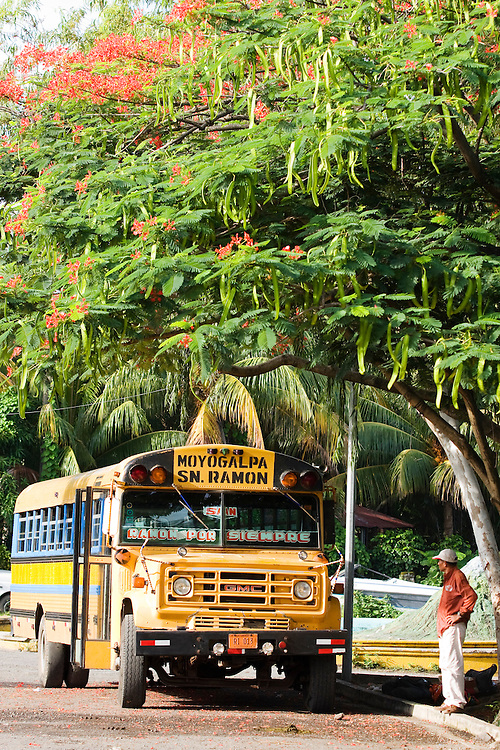 A typical converted north American School Bus is one of the fleet of buses that take passengers all over Ometepe