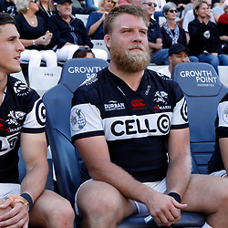 Louis Schreuder with Ross Geldenhuys and Marius Louw of the Cell C Sharks during The Cell C Sharks and the Vodacom Blue Bulls,Currie Cup semi-finals match at Growthpoint Kings Park in Durban, South Africa. 21st October 2017(Photo by AL NICOLL -Steve Haag)