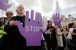 June 8, 2017 - Brussels, Belgium - Protesters hold up hands to protest at the loud and united march against violence against women and girls in Brussels. (Credit Image: © Frederik Sadones/Pacific Press via ZUMA Wire)