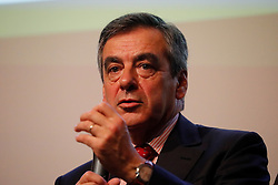 Former French Prime Minister and candidate for the center-right presidential primaries, Francois Fillon participates in a debate hosted by the French Building Federation (FFB) focussed on the concerns of business heads and craftsmen in the building industry, in Paris, France on October 25, 2016. Photo by Henri Szwarc/ABACAPRESS.COM
