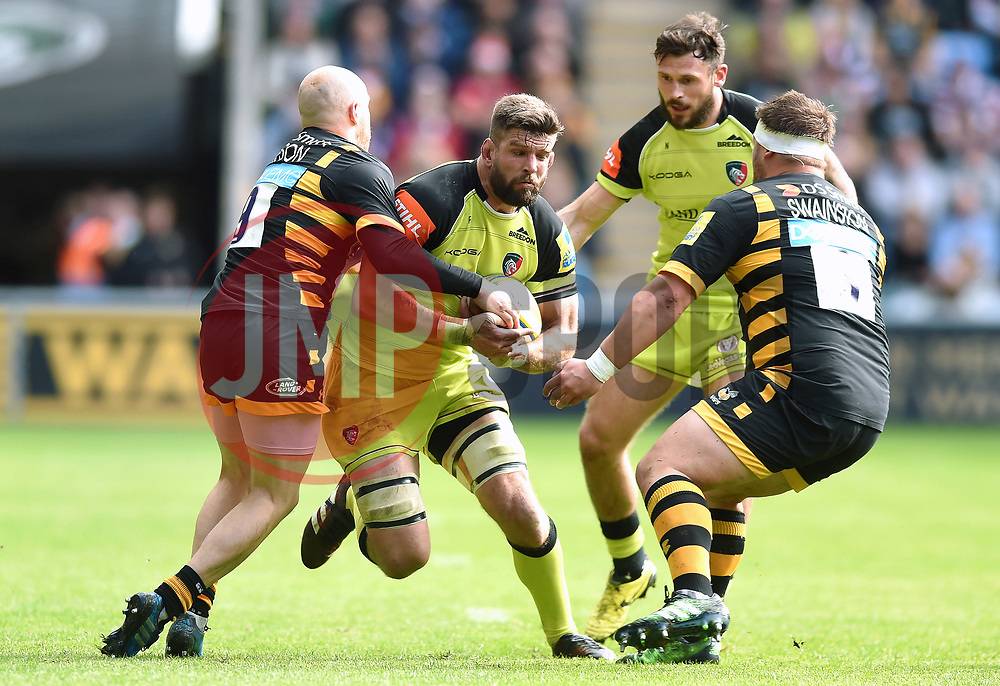 Mike Fitzgerald of Leicester Tigers takes on the Wasps defence - Mandatory byline: Patrick Khachfe/JMP - 07966 386802 - 20/05/2017 - RUGBY UNION - Ricoh Arena - Coventry, England - Wasps v Leicester Tigers - Aviva Premiership Semi Final.