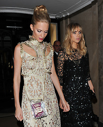Models Suki Waterhouse, Cara Delevingne and sister Poppy Delevingne leaving the Claridges hotel in Mayfair, London, UK. 15/09/2014<br />BYLINE MUST READ : GOTCHAIMAGES.COM<br /><br />Copyright by © Gotcha Images Ltd. All rights reserved.<br />Usage of this image is conditional upon the acceptance <br />of Gotcha Images Ltd, terms and conditions available at<br />www.gotchaimages.com