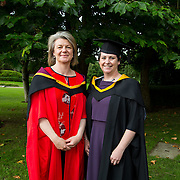 "25.08.2016          <br />  Faculty of Business, Kemmy Business School graduations at the University of Limerick today. <br /> <br /> Attending the conferring was Master of Science in Advanced Healthcare Practice  graduate, Marie-Louise Chapman with Dr. Rosie Gowran, Dept. Clinical Therapies. Picture: Alan Place.<br /> <br /> <br /> As the University of Limerick commences four days of conferring ceremonies which will see 2568 students graduate, including 50 PhD graduates, UL President, Professor Don Barry highlighted the continued demand for UL graduates by employers; ""Traditionally UL's Graduate Employment figures trend well above the national average. Despite the challenging environment, UL's graduate employment rate for 2015 primary degree-holders is now 14% higher than the HEA's most recently-available national average figure which is 58% for 2014"". The survey of UL's 2015 graduates showed that 92% are either employed or pursuing further study."" Picture: Alan Place"