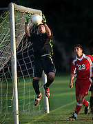 Vintage High goalie Alonso Solorio blocks a shot by Beyer High during the second half of Friday's CIF Sac-Joaquin Division I section playoff game at Redwood Middle School in Napa. 11.2.01