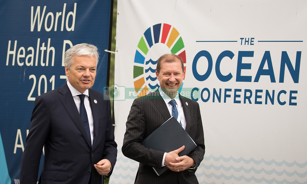 June 5, 2017 - New York, AMERICA - Vice-Prime Minister and Foreign Minister Didier Reynders and Belgian Ambassador to United Mission Marc Pecsteen pictured ahead of the United Nations Ocean's Conference, in New York, United States, Monday 05 June 2017. BELGA PHOTO BENOIT DOPPAGNE (Credit Image: © Benoit Doppagne/Belga via ZUMA Press)