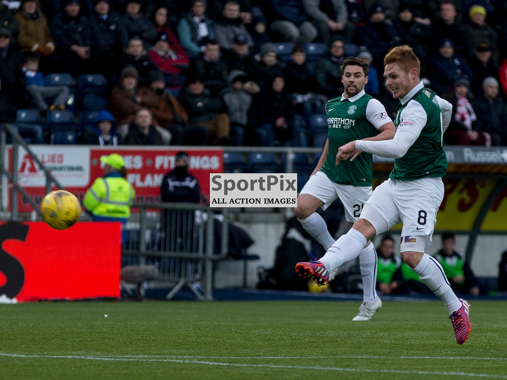 Falkirk v Hibernian   SPFL season 2015-2016  <br /> <br /> Fraser Fyvie (Hibernian) gets shot away during the Ladbrokes Championship match between Falkirk v Hibernian at Falkirk Stadium on Sunday 17 January 2016<br /> <br /> Picture: Alan Rennie