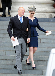 FILE PHOTO - Zara Phillips and Mike Tindall are expecting a baby in the New Year, Buckingham Palace announced today.<br /> Queen Elizabeth II's granddaughter Zara married England rugby star Tindall in July 2011 at Edinburgh's Canongate Kirk and a reception at the Queen's Scottish residence, the Palace of Holyrood<br /> <br /> Zara Phillips and her Husband Mike Tindall at St Pauls Cathedral for the National Service of Thanksgiving celebrating the Queens Diamond Jubilee Tuesday June 5, 2012. Photo by : Andrew Parsons / i-Images